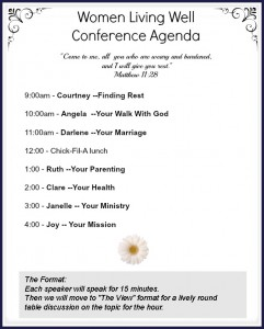 The Women Living Well Conference Agenda