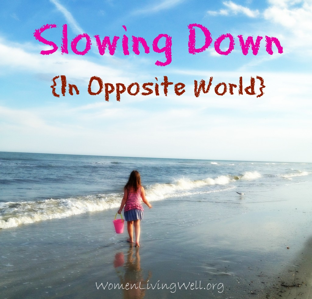 Slowing down in opposite World