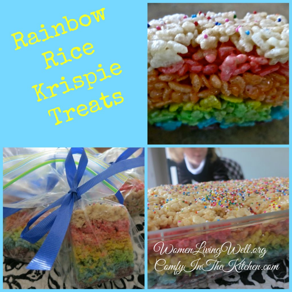 Rainbow Rice Krispie Treats collage