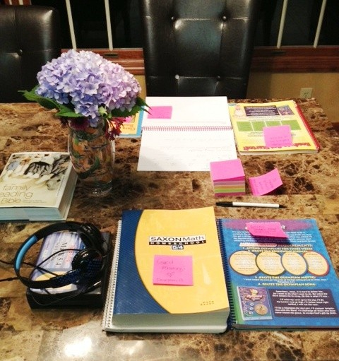 homeschooling morning post-it notes