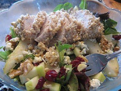 salad harvest walnut crusted chicken
