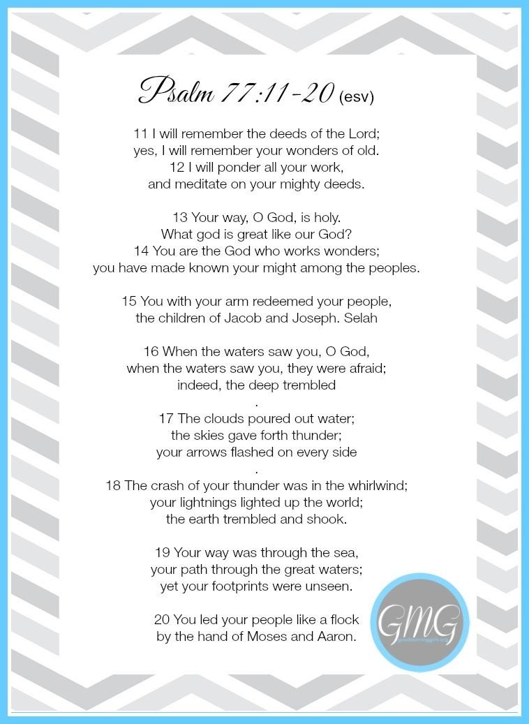 Memory Work Psalm 77- 11-20