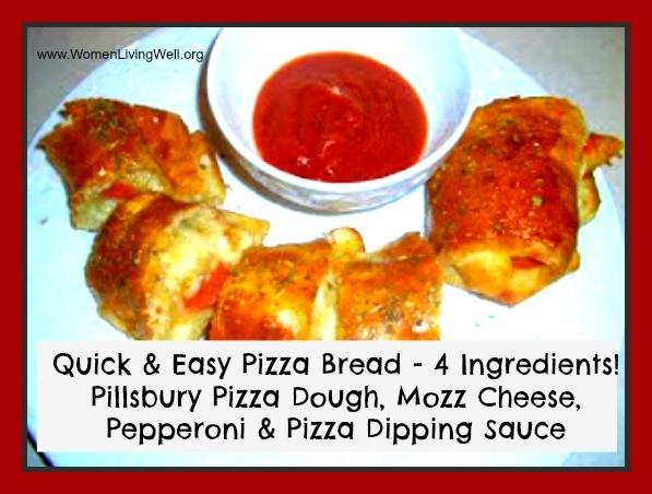 This Quick and Easy Pizza Bread only takes 4 ingredients and 30 minutes to make. Great for game day, potlucks, or birthday parties. #WomenLivingWell #pizza #easyrecipes #gameday
