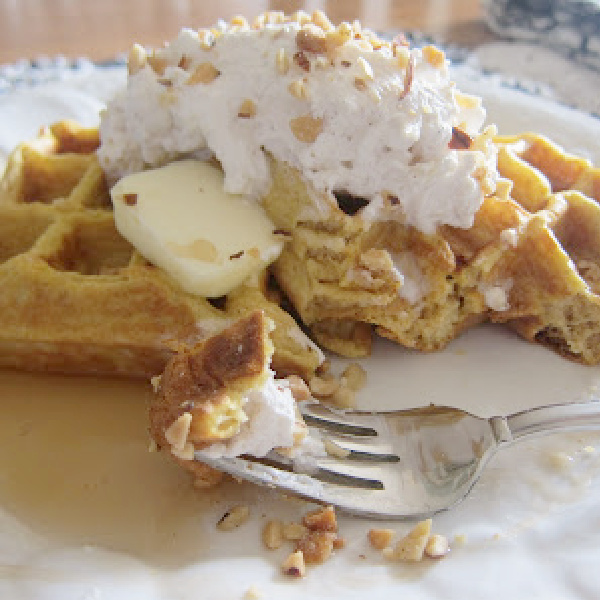 Comfy In the Kitchen: Pumpkin Waffles with Spiced Whipped Cream