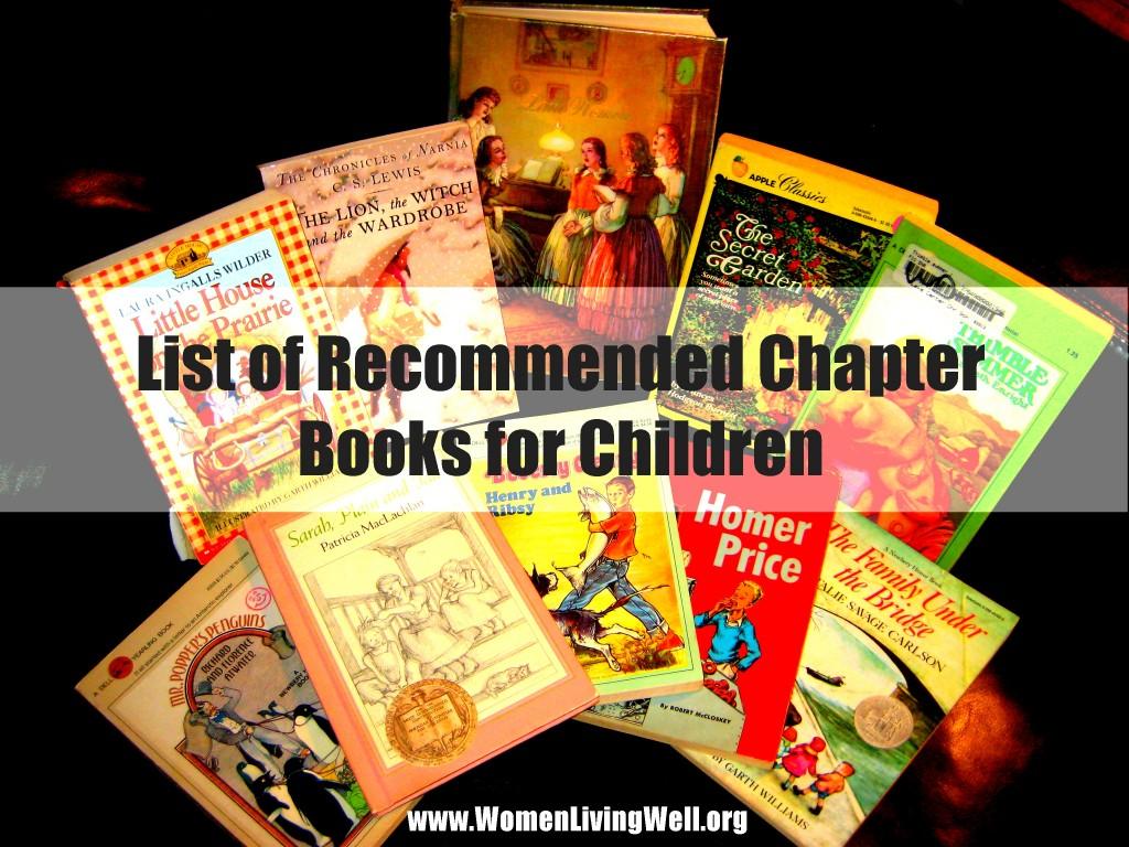 List Of Recommended Chapter Books For Children Women Living Well