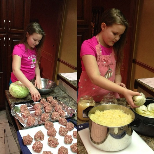 Lexi making cabbage rolls