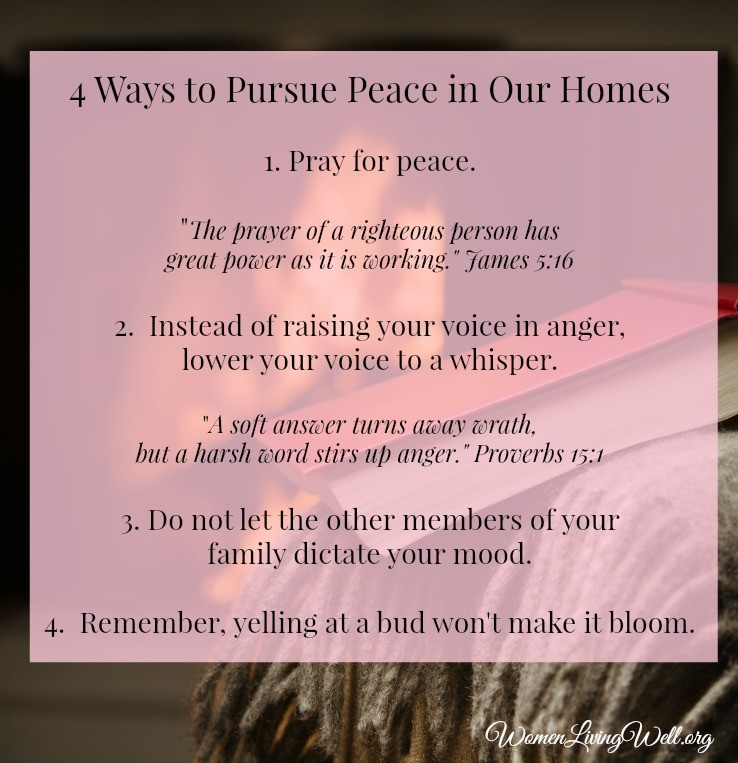 These four tips will help remind you to pursue peace in your home as you strive to make your home a haven for your family.  #WomenLivingWell #homemaking #friendship #makingyourhomeahaven
