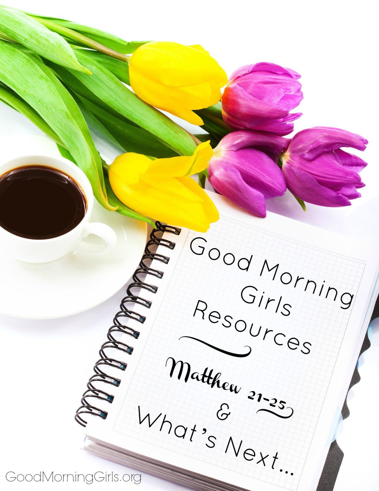 Good Morning Girls Resources {Matthew 21-25} & What's Next…