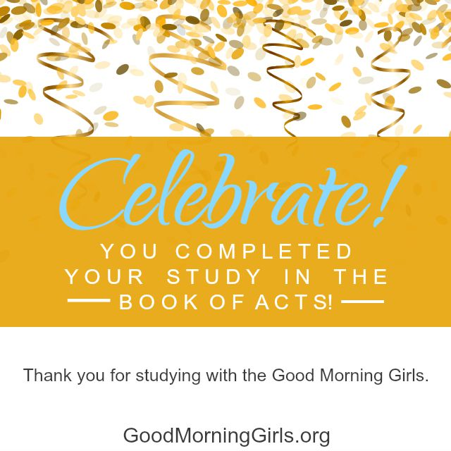Join Good Morning Girls as we read through the Bible cover to cover one chapter a day. Here are the resources you need to study the Book of Acts. #Biblestudy #Acts #WomensBibleStudy #GoodMorningGirls