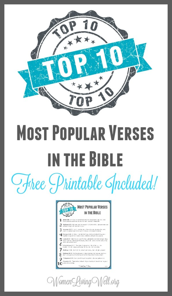 Take a moment and reflect on the most popular verses in the Bible; and download my free printable page with all of the verses on it, for quick reference. #WomenLivingWell #Bibleverses #Bible
