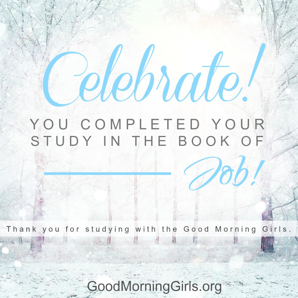 Celebrate - you completed your study in the book of Job!