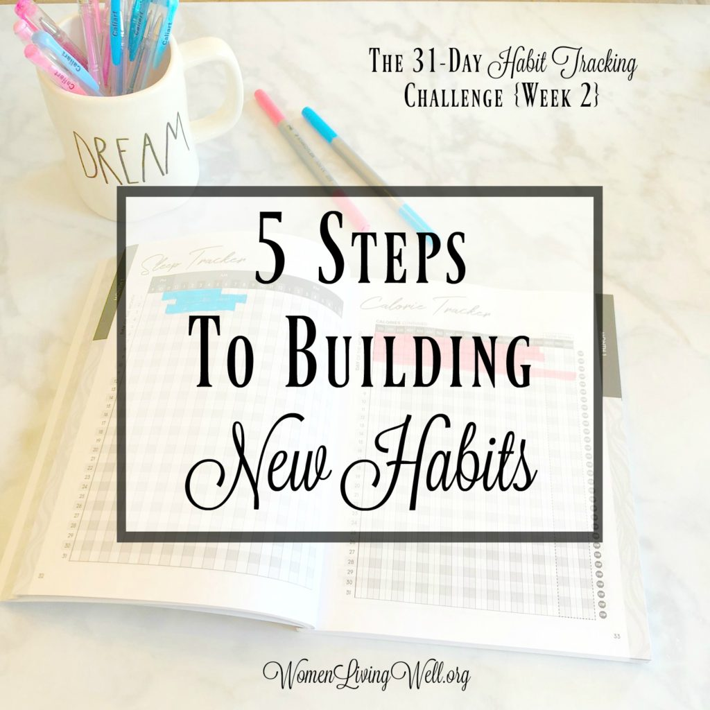 If you want to start building new habits you can get started with these 5 steps to building new habits and begin changing your life today! #WomenLivingWell #Habittrackers #bulletjournal